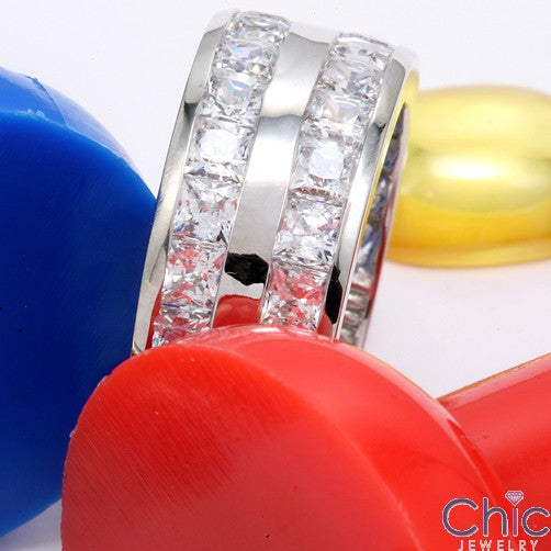Mens 9mm Wide 3.6 TCW Channel Set 2 Rows Cubic Zirconia CZ Wedding Band