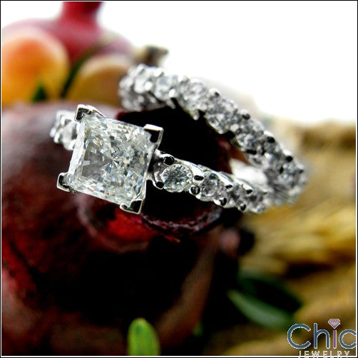 Eternity 1 Ct Princess Center Ring Eternity Cubic Zirconia Cz Ring