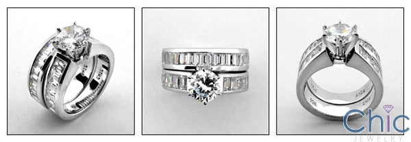Matching Set 1.5 Round Center Channel Baguettes Cubic Zirconia Cz Ring