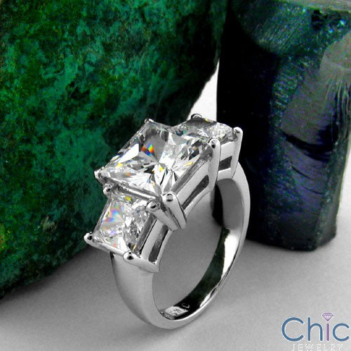 3 Stone 3.70 Ct 3 Princess in Prongs Cubic Zirconia Cz Ring