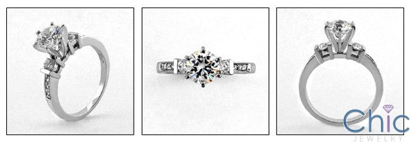 Engagement 1 Ct Round Center narrow Cubic Zirconia Cz Ring