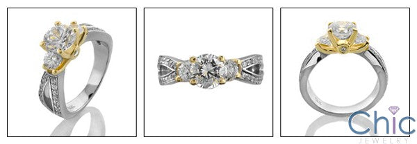 Two Tone Solid Gold Engagement Ring Cubic Zirconia 1 Carat Round Stone Center Smaller CZ Side Stones Pave