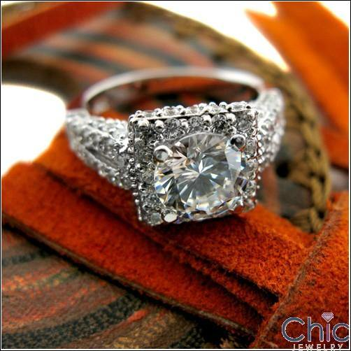 1.5 Round Cubic Zirconia Center Pave Anniversary 14K White Gold Ring