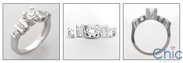 Engagement Half Ct Round Center Cubic Zirconia Cz Ring