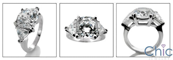 3 Stone 3 Ct Round 2 Ct Triangle Prongs Cubic Zirconia Cz Ring