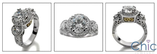 Estate 2 Ct Round Center Antique Style Cubic Zirconia Cz Ring