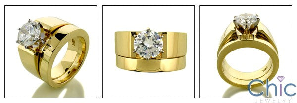 Matching Set 2 Ct Round 6 Prong Wide Engagment Plain Cubic Zirconia Cz Ring