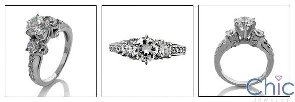 Round 1 Ct Center CZ Tiffany 6 Prongs Cubic Zirconia 14K White Gold Engagement Ring