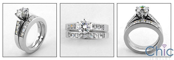 Matching Set Round 1 Ct Center Princess Cubic Zirconia Cz Ring