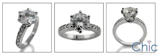 Engagement 2 Ct Round Tiffany Style Cubic Zirconia Cz Ring
