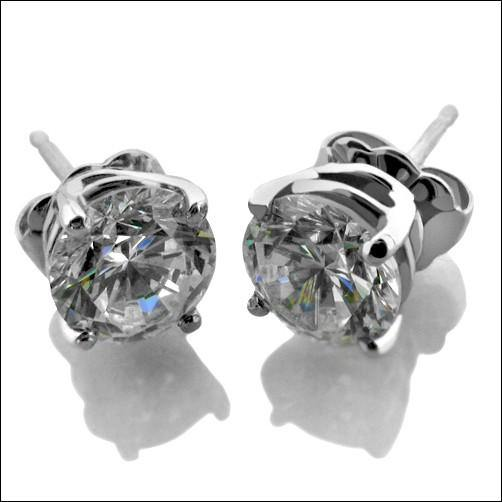 1 Carat Total Round Stone Basket Cubic Zirconia CZ Stud Earrings White Gold