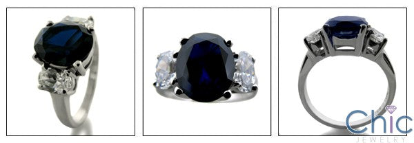 3 Stone Sapphire Oval 3 Ct Center Half Ct Oval Cubic Zirconia Cz Ring