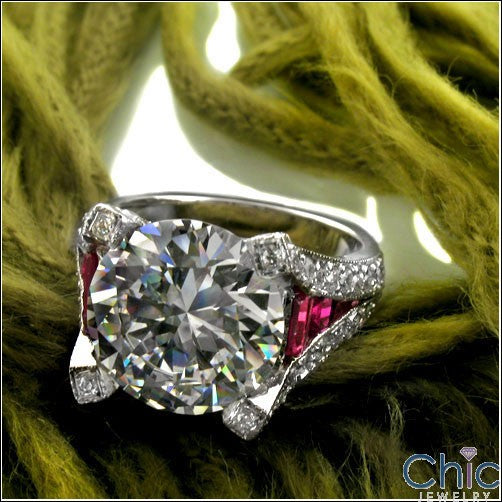Round 4 Carat CZ Ruby Baguettes Channel Set  Ring