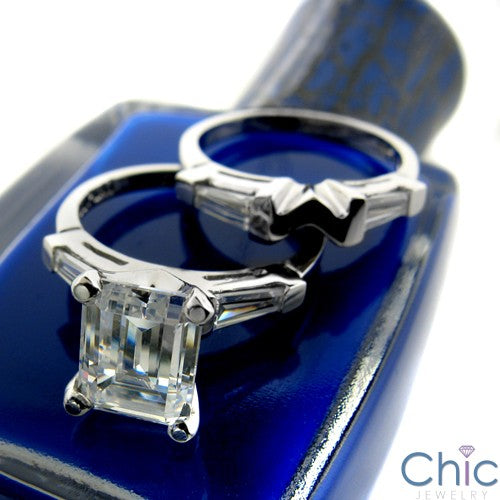 Matching Set 2 Ct Emerlad Ct Long Channel Baguettes Cubic Zirconia Cz Ring