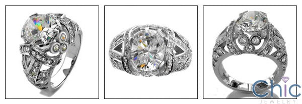 Estate Oval 3 Ct Antique Style Cubic Zirconia Cz Ring