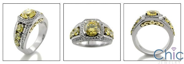 Anniversary 1.5 Carat Round Canary CZ Center Pave Halo Cubic Zirconia Two Tone 14K Gold Ring