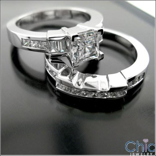 1 Ct . Princess CZ Engagement Ring and Matching Channel Wedding Band Cubic Zirconia 14K W Gold