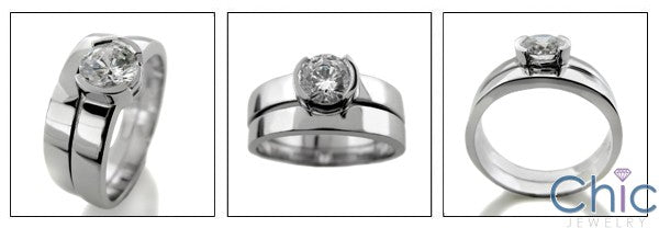 Matching Set Round 1 Ct Half Bezel Fitted Cubic Zirconia Cz Ring
