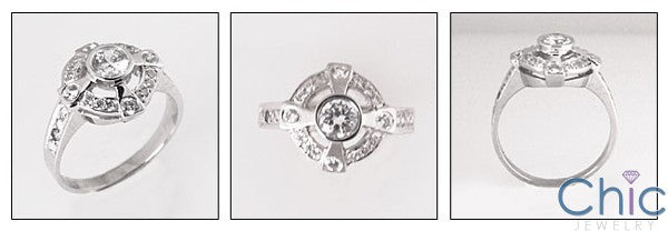 Estate .70 Ct Round Bezel Center Pave Cubic Zirconia Cz Ring