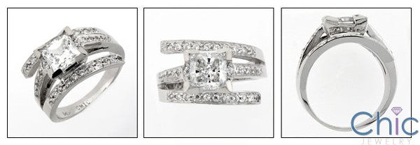 Engagement 1.25 Princess Center Rows of Pave Cubic Zirconia Cz Ring
