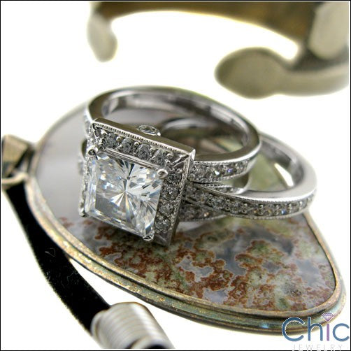 Matching Set 2 Ct . Princess Center Pave Cubic Zirconia Cz Ring