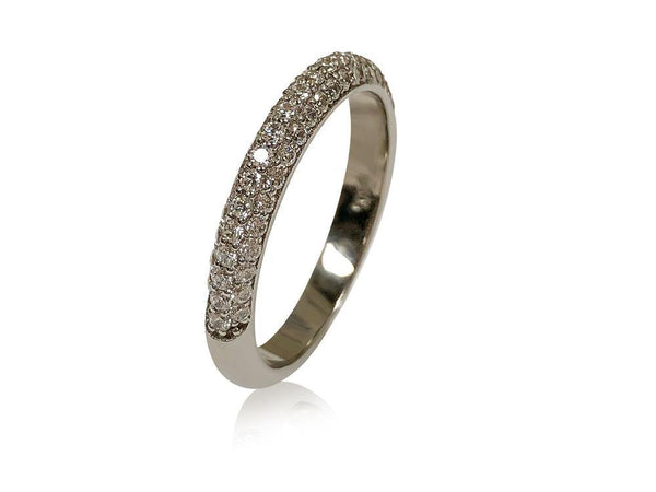 Micropave set cz in 3 rows 3mm wide dome wedding band