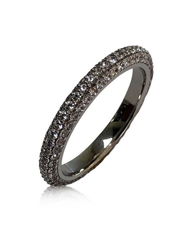 MIcro pave 3 rows Cz Eternity Wedding band 14K White Gold
