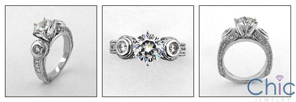 Anniversary 2 Ct Round Engraved Shank Bezel Cubic Zirconia Cz Ring