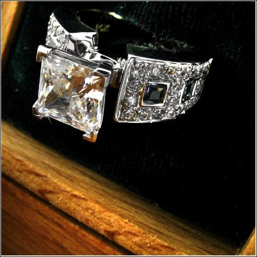 1.5 Cubic Zirconia Square Princess Center 14K Gold Engagement Ring