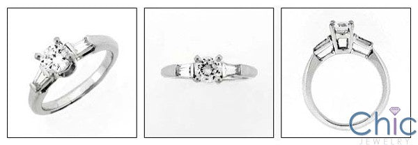 Engagement 0.75 Ct Round Tapered Baguettes Cubic Zirconia Cz Ring