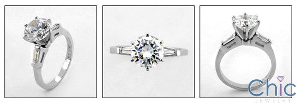 Engagement Round 2 Ct Ct Tapered Baguettes Cubic Zirconia Cz Ring