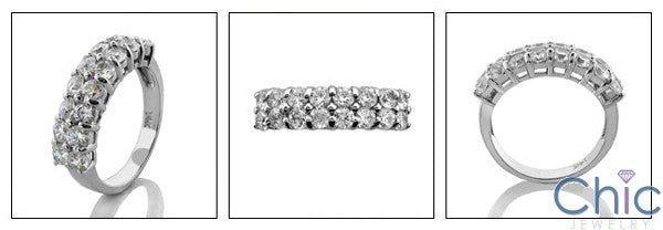 Wedding 2 Rows Round Share Prong Cubic Zirconia CZ Band