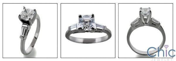 Engagement Half Ct Asscher Ct tapered baguettes Cubic Zirconia Cz Ring