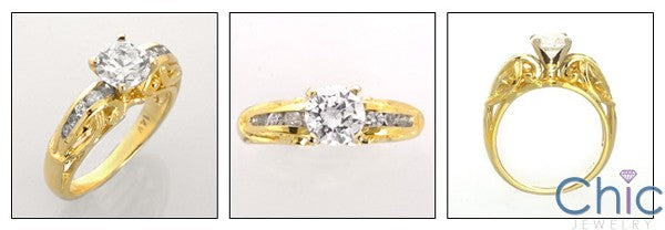 Estate 1 Carat Round Center 4 prongs Cubic Zirconia Yellow Gold Ring