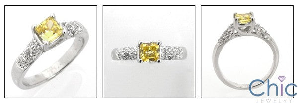 Anniversary .50 Princess Center ans Pave Set Round Cubic Zirconia Cz Ring