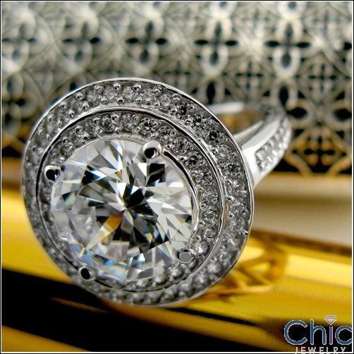 4.5 Carat Round Cubic Zirconia  Bezel Double Halo Pave 14K White Gold Ring