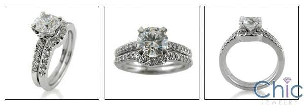 1.25 Round Center Stone CZ Engagement Ring with Curved Cubic Zirconia Wedding Band 14k White Gold Matching Set