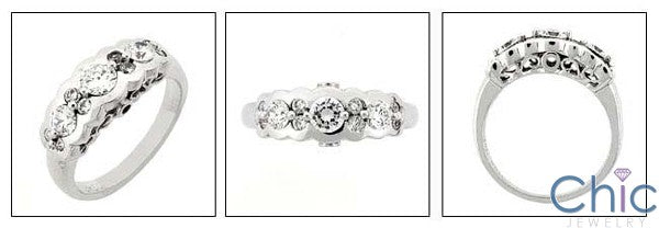 Fine Jewelry 1Ct Round Half Bezel Ct Prongs Cubic Zirconia Cz Ring