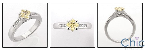 Anniversary .60 Canary Princess Center Channel Cubic Zirconia Cz Ring