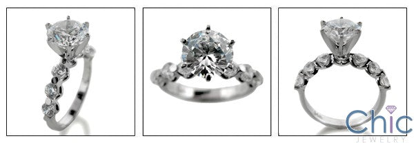 Engagement 2 Ct Round Center Share Prong Cubic Zirconia Cz Ring