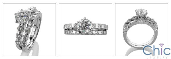 Matching Set Round 1 Ct Ct Channel wedding Cubic Zirconia Cz Ring