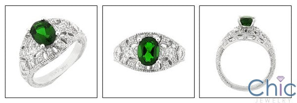 Estate 1.5 Oval Green Center Pave Cubic Zirconia Cz Ring