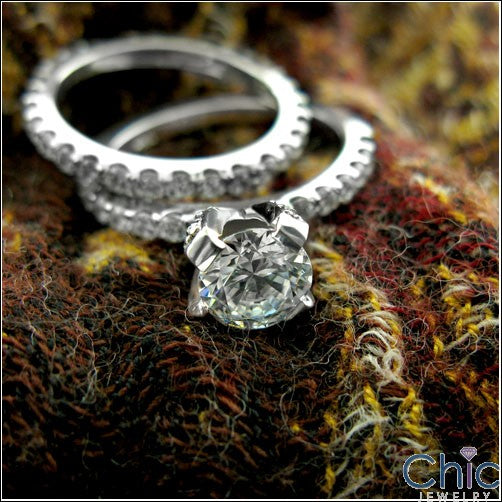 Engagement CZ 1 Ct Round Center Pave Half Way Cubic Zirconia on the sides 14K W Gold Ring