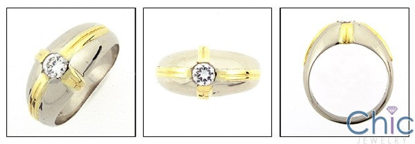HIgh Quality Cubic Zirconia .40 Round Bezel Two Tone 14K Gold Ring