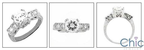 1.5 Round Center Engraved Shank Cubic Zirconia Engagement Ring 14k White Gold