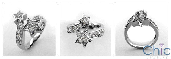Fine Jewelry Star Shapes Pave set Right HCt Cubic Zirconia Cz Ring