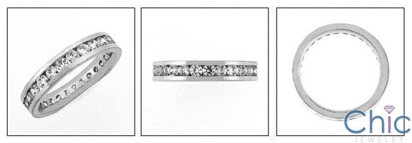 Eternity 1 Round Channel Cubic Zirconia Cz Ring