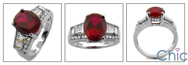 Anniversary 3 Ct Ruby Oval Cubic Zirconia Cz Ring