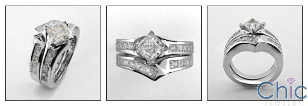 Matching Set 1 Ct Princess Channel Cubic Zirconia Cz Ring