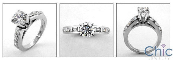 Engagement 1 Ct . Round 4 Prong Center Channel Baguettes Cubic Zirconia Cz Ring